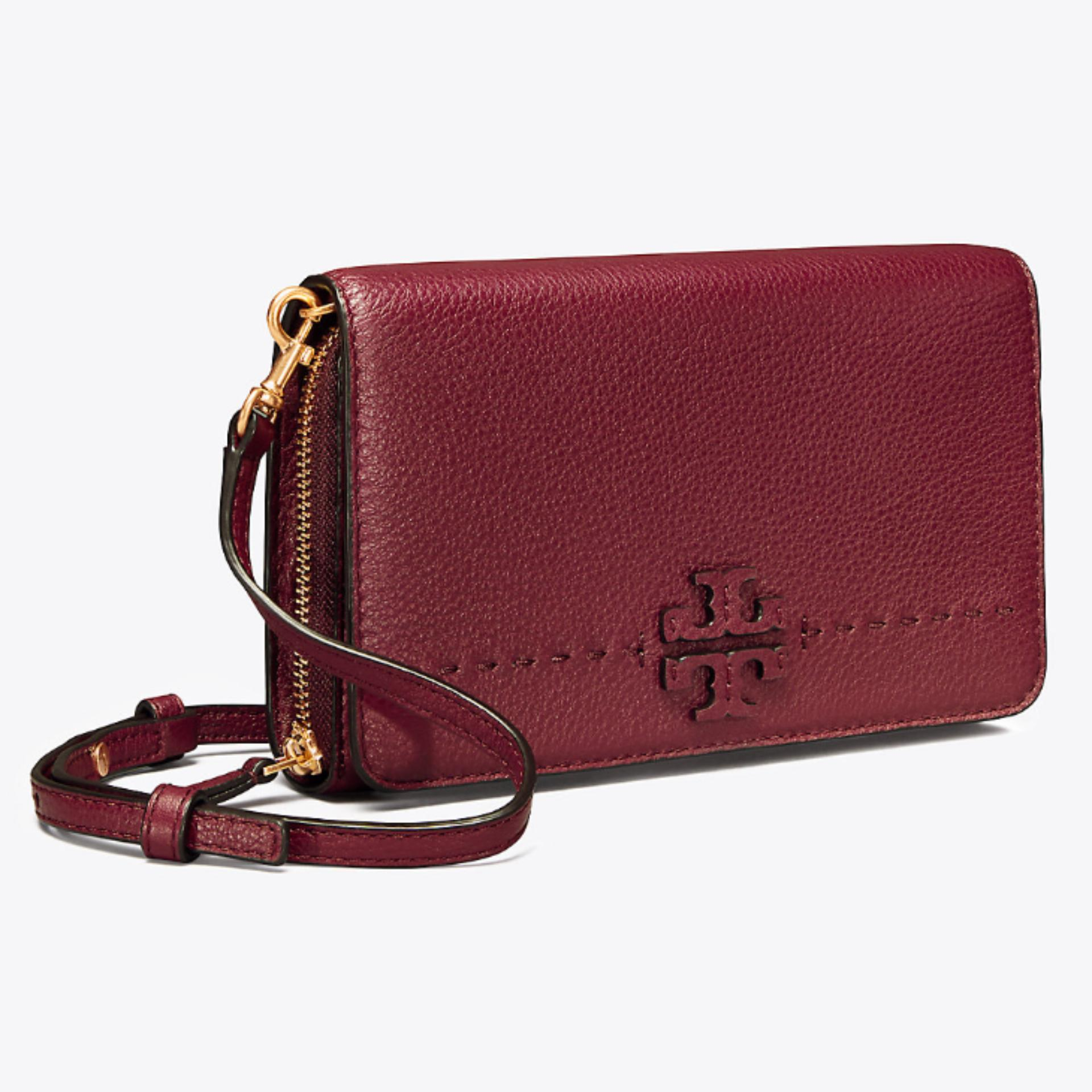 TORY BURCH McGRAW FLAT WALLET CROSS-BODY (IMPERIAL GARNET)