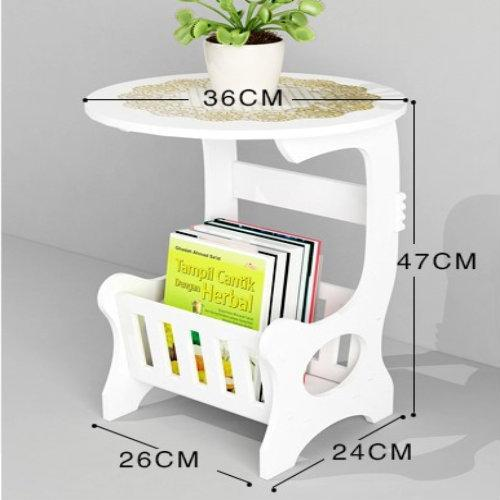 White Wooden Chic Side Lamp Small Round Coffee Table / Magazine Rack Bedroom By E4u.