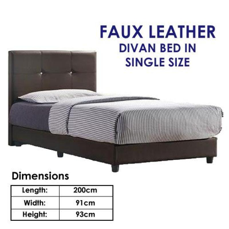 Astar Single Faux Leather Divan Bed + Mattress
