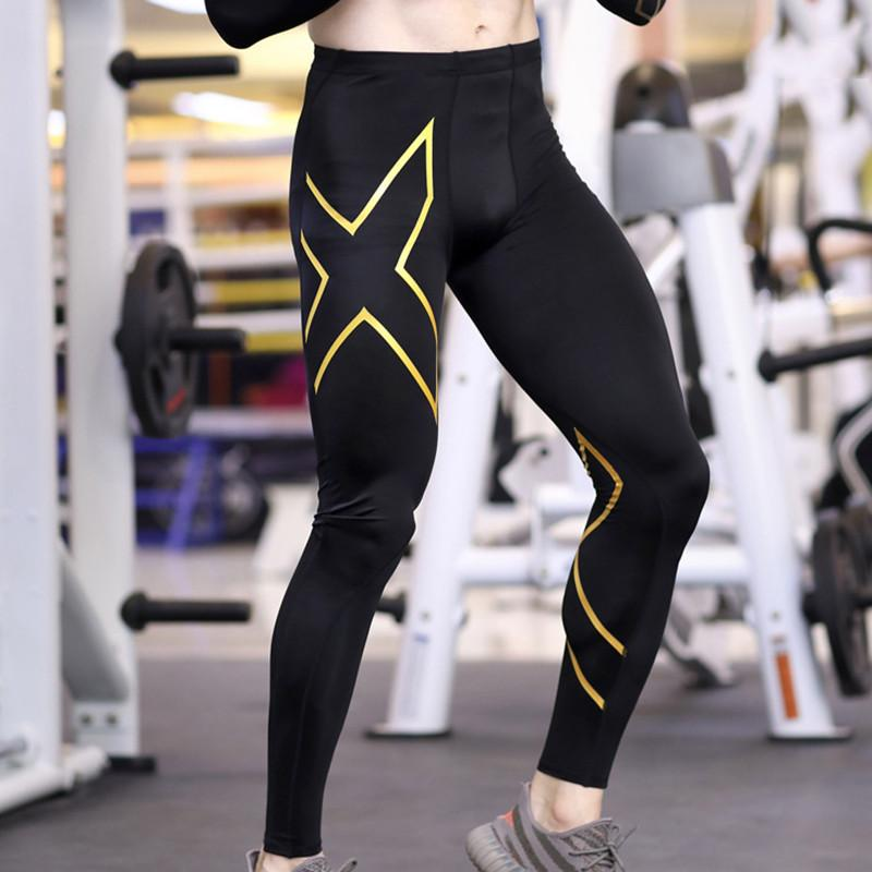 Discount Men Compression Pants Tights Bodybuilding Trousers Running Fitness Sport Quick Dry Tights Gym