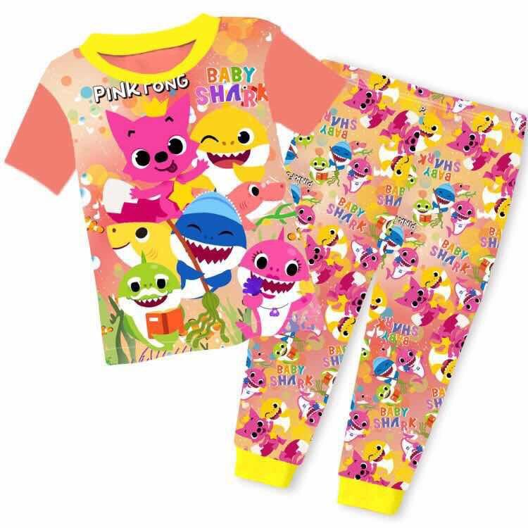 Kids Clothes Kids Pajamas Baby Shark Pajamas Short Sleeve Top Pajamas In Stock