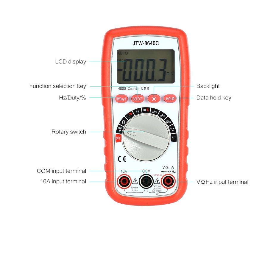 OSMAN JTW-8640C Multimeter Digital AC/Tegangan DC Amp Diode Ohm Penguji Suhu