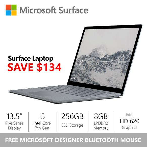 Gss Microsoft Surface Laptop I5 8Gb 256Gb Platinum Free Designer Bluetooth Mouse Best Price