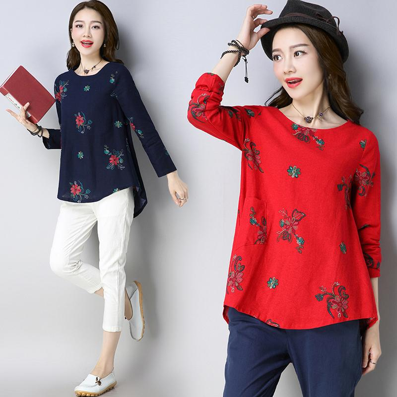 Sale Loose National Style Cotton Linen Plus Sized Women With Pockets Top T Shirt China Cheap