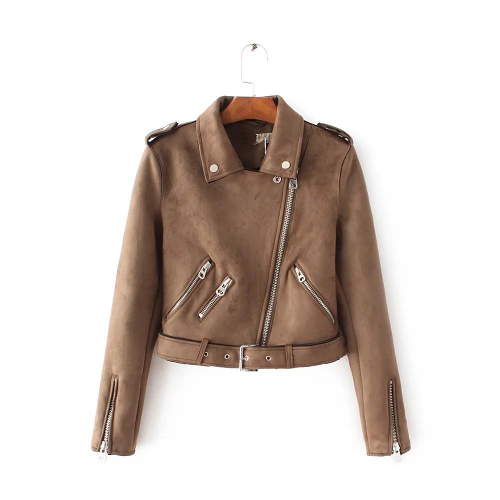 2017 busana musim gugur Gaya Barat za baju wanita model pendek imitasi  Beludru kulit rusa jaket 31ebecc890