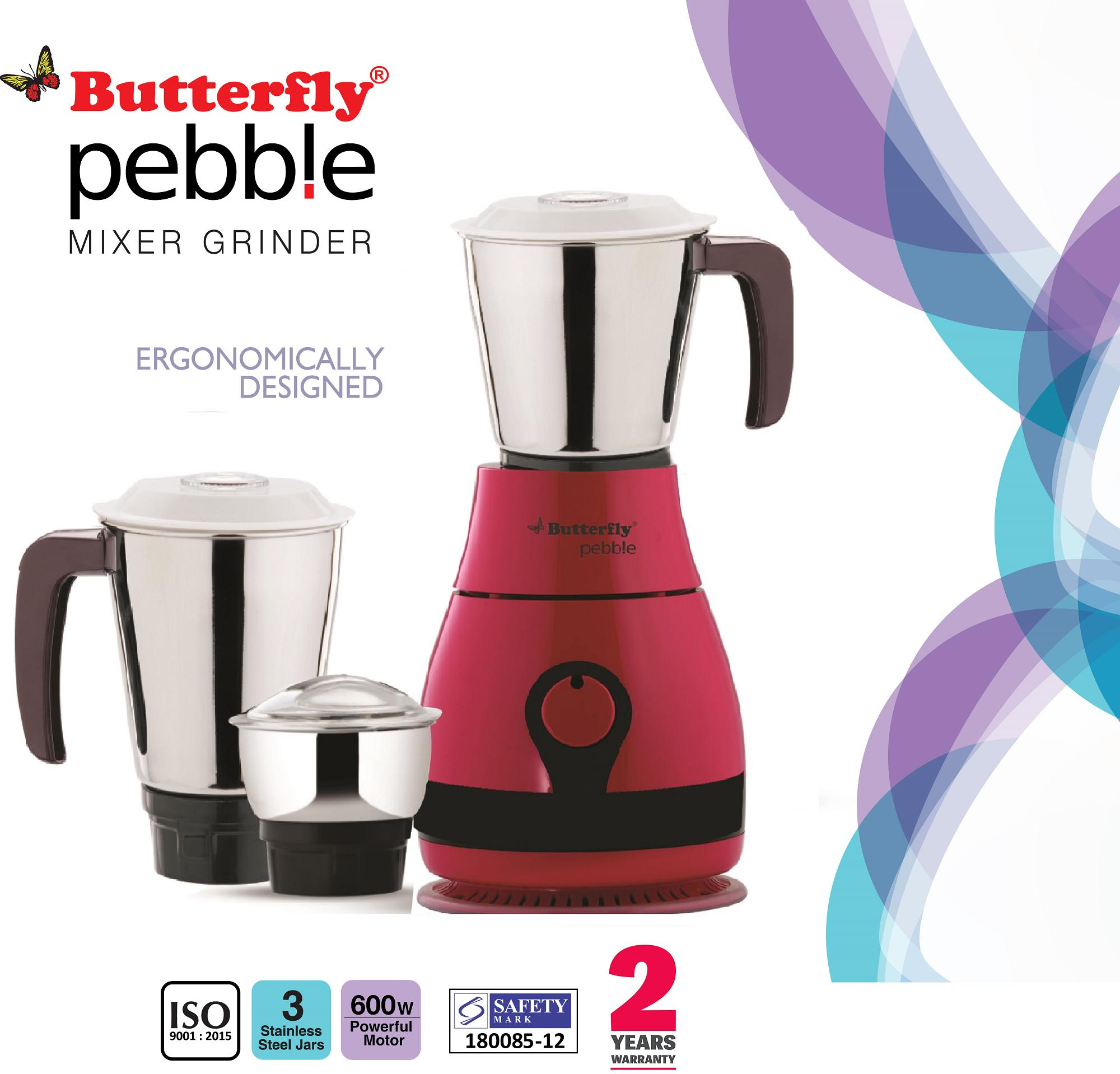 Butterfly Pebble 600-Watt Mixer Grinder with 3 Jars - ( 2 Years Warranty )