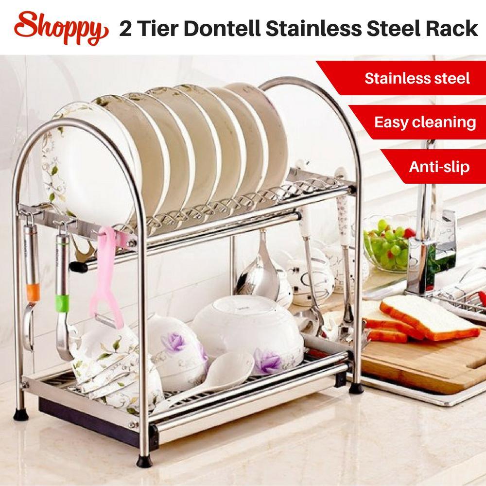 Shoppy Dontell Stainless Steel Utensil 2-Tier Kitchen Rack Organiser