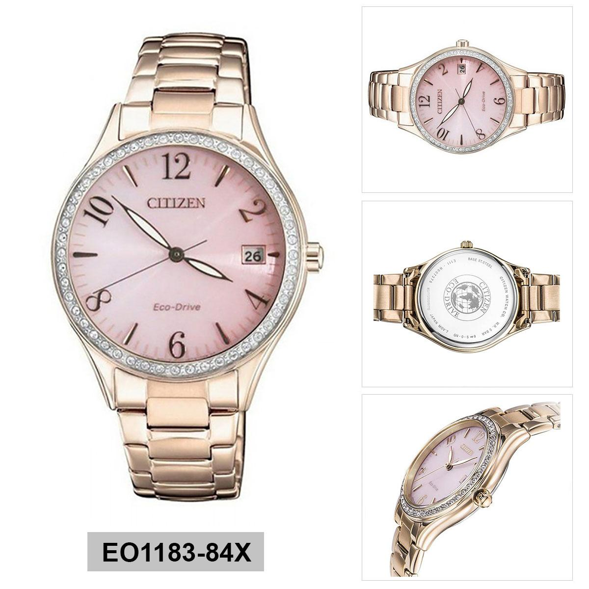 Citizen Eco-Drive Rose Gold Stainless-Steel Case Stainless-Steel Bracelet Ladies EO1183-84X Malaysia