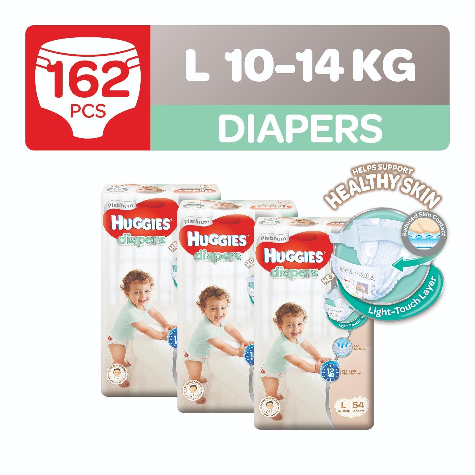 Huggies Platinum Diapers L 54pcs x 3 packs