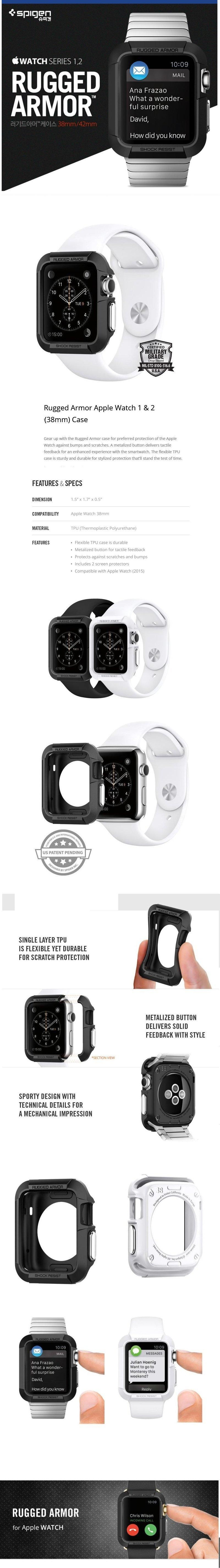 Specifications of Spigen Rugged Armor Apple Watch Series 1 & 2 (38mm) Cases (White / Black) 100% Original - intl