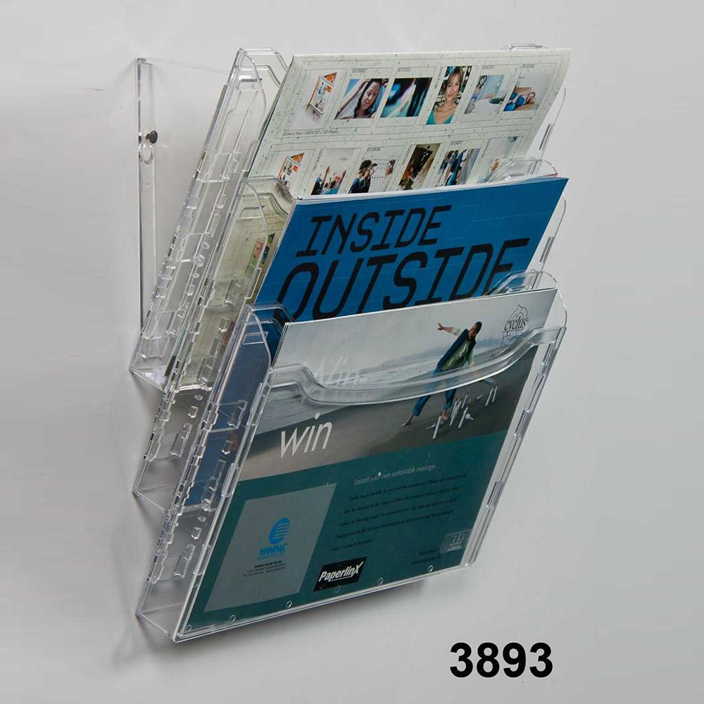 3893 2in1 | A4 Adjustable to 6 1/3 A4 Brochure Holder | Suitable for Tabletop & Wall Mount