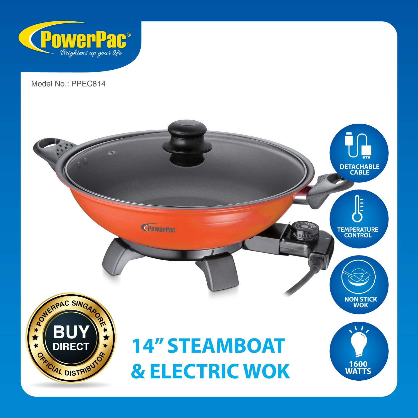 Sale Powerpac 14 Inch Electric Wok Steamboat Ppec814 Powerpac On Singapore