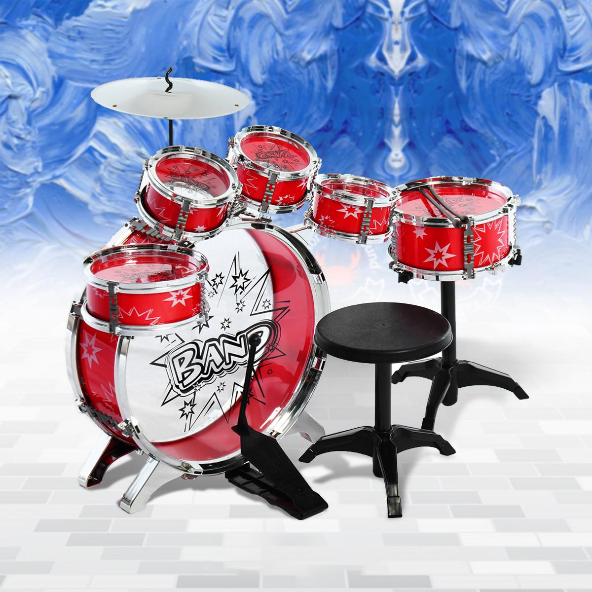 Kids Children Junior Drum Set Drums Kit Percussion Musical Instrument With Cymbal Drumsticks Adjustable Stool Intl For Sale