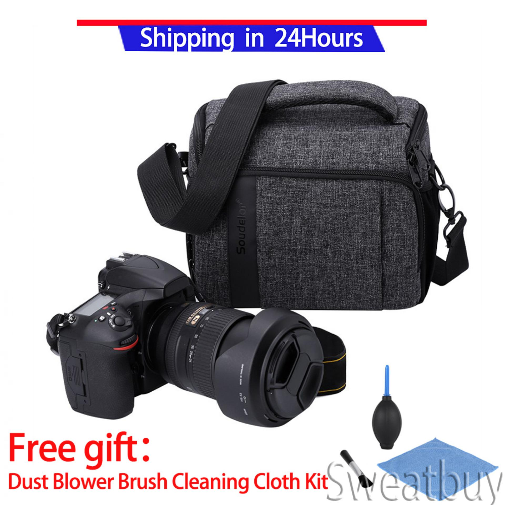 Compare Buy 1 Get 1 Free Gift Canvas Travel Photography Shoulder Camera Bag For Dslr Dark Gray Intl