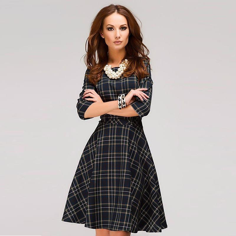 c3f8636d3a Scottish plaid mini Three Quarter Sleeve O-neck A-line printing dress