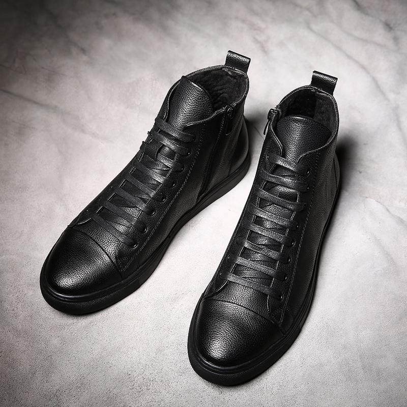 Korean-style male winter black leather shoes | sneakers