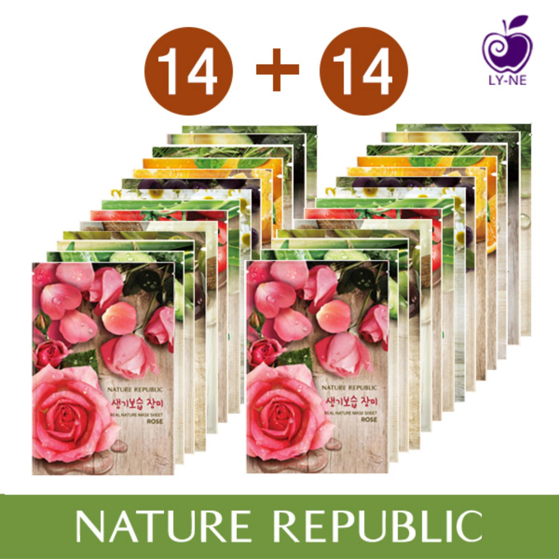 Nature Republic Real Nature Mask Sheet X 28 Rose Orange Avocado Royal Jelly Shea Butter Chamomile Green Tea Teatree Aloe Cucumber Tomato Acaiberry Bamboo Olive Price Comparison