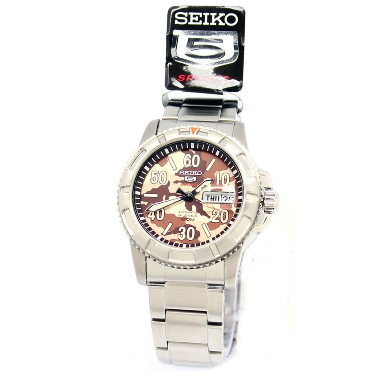 Seiko 5 Sports Silver Stainless-Steel Case Stainless-Steel Bracelet Mens SRP221K1