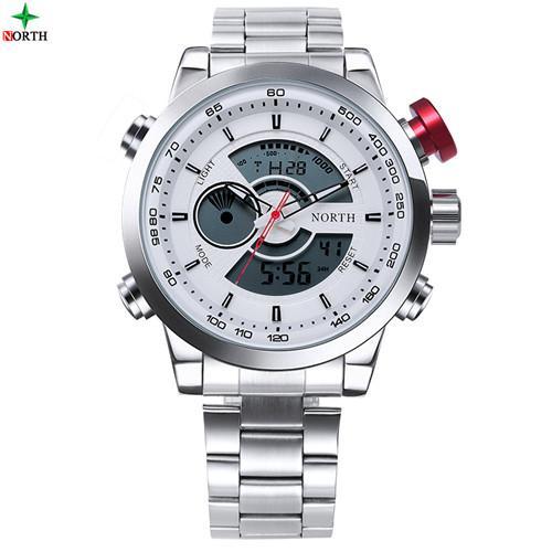 NORTH 6015BMRed LED Digital Sport Watch Male Waterproof Multifunction Wristwatch Fashion Analog Round Stainless Steel Men