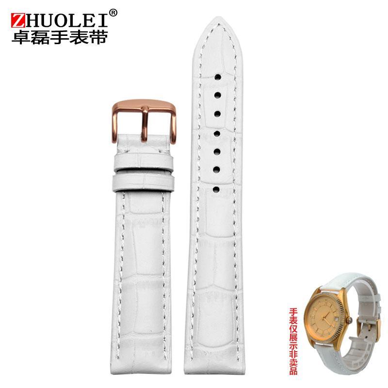 Putih ruas bambu pola tali jam tangan kulit sapi cocok untuk GIORGIO ARMANI TITUS selamanya wanita Kulit asli Rantai Jam Tangan 12 14 16