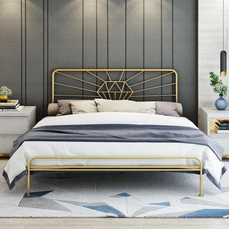 Loft Iron Metal Golden Bed Frame - Diamond
