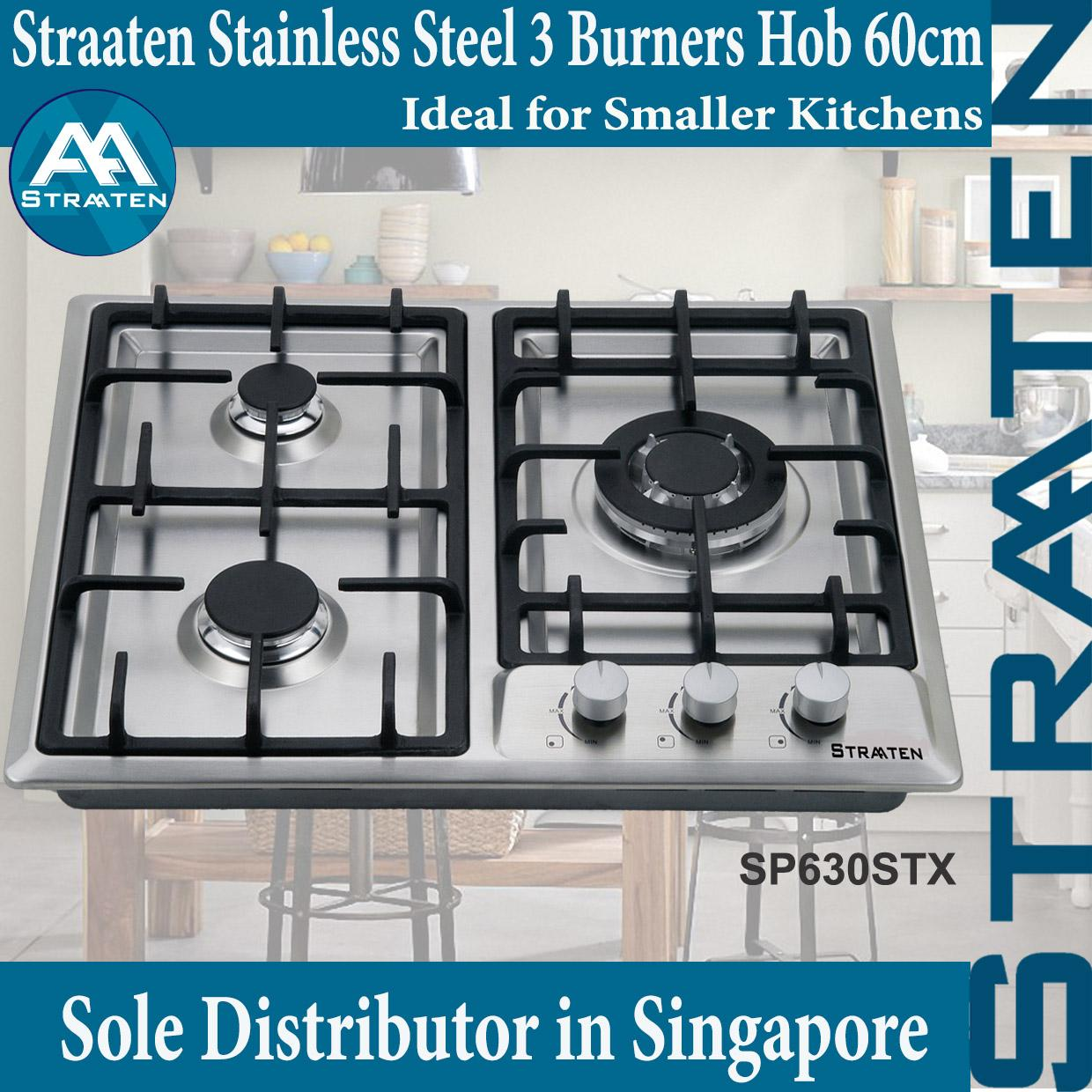 Straaten Sp630Stx Stainless Steel 60Cm Hob 3 Gas Burners Hob Cast Iron Trivets And Safety Device Compare Prices