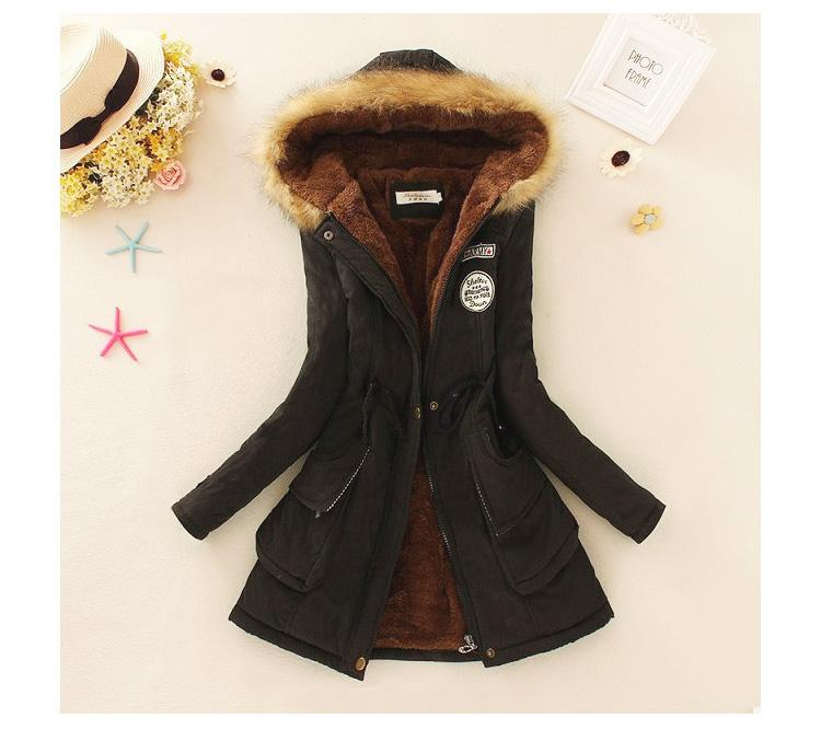 af1fc155c53 ... Coats. 2018 Autumn And Winter New Style Korean Style plus Velvet Hooded  Cotton-padded Clothes women