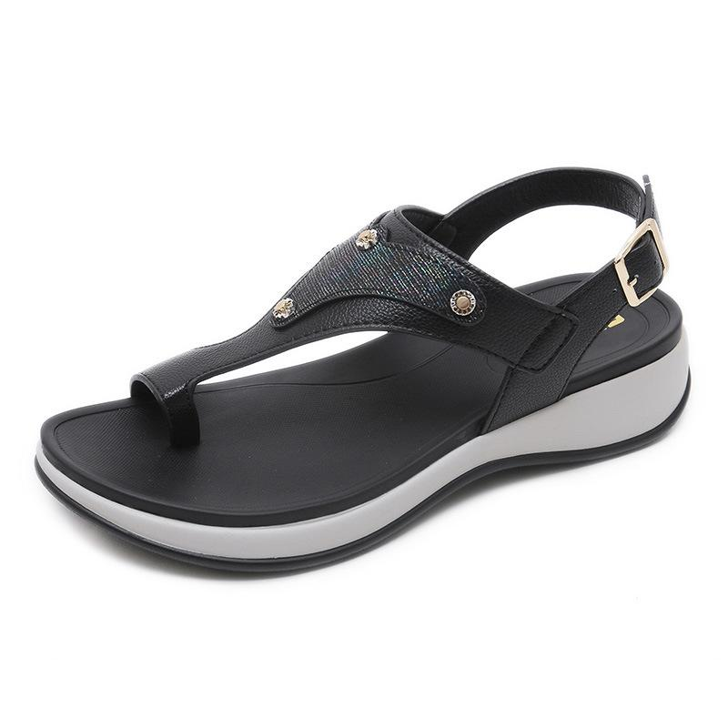 New Wedges Shoes Women's Shoes Large Size Comfort Sandals Thong Sandals Elastic Band Metal Sandals Casual Women's Shoes Beach Shoes - intl