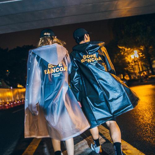 Gaya Jepang Jas Hujan Poncho Huruf Printing Murni Warna Transparan HK Gaya Hujan Pasangan Jas Hujan Tahan Air-Intl