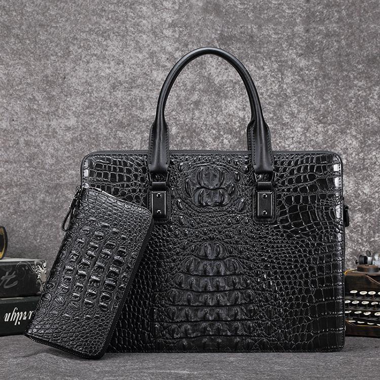 Tas Pria tas tangan Model silang Kulit asli Tas kerja tas bahu tunggal Pola  Kulit Buaya bd0b0b4736
