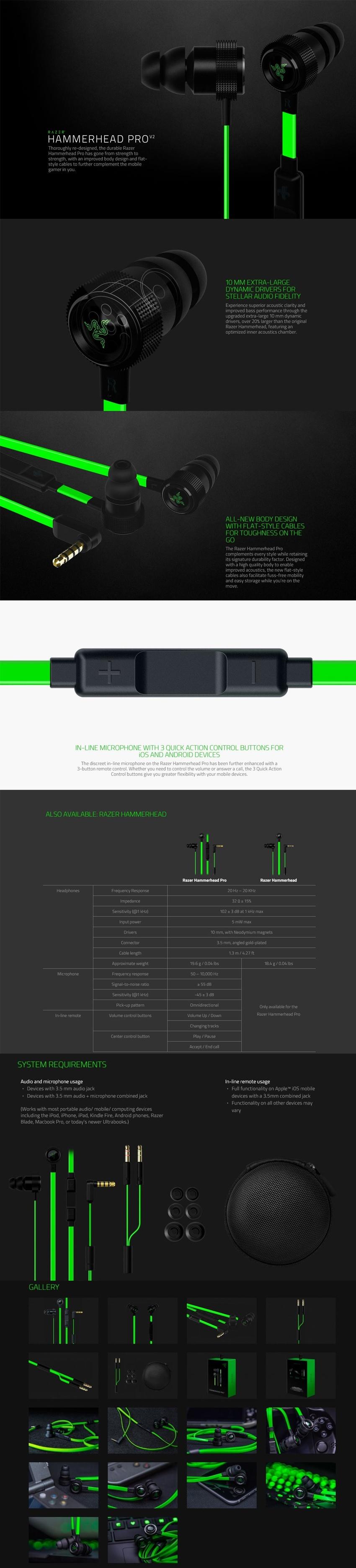 Razer Hammerhead Pro V2 Analog Gaming Music In Ear Headset Specifications Of