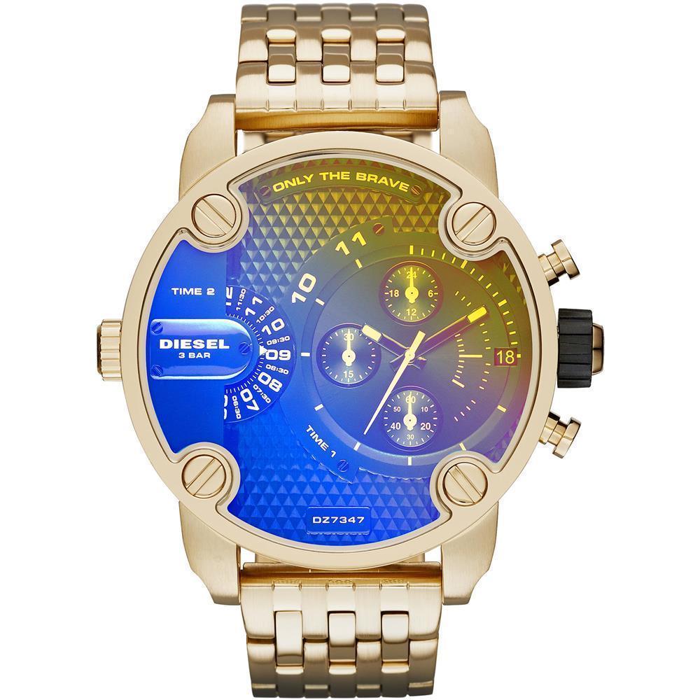 พะเยา Diesel_Little Daddy Men Black 51mm Dial Gold Tone Stainless Steel Strap Dual Time Quartz Watch  DZ7347