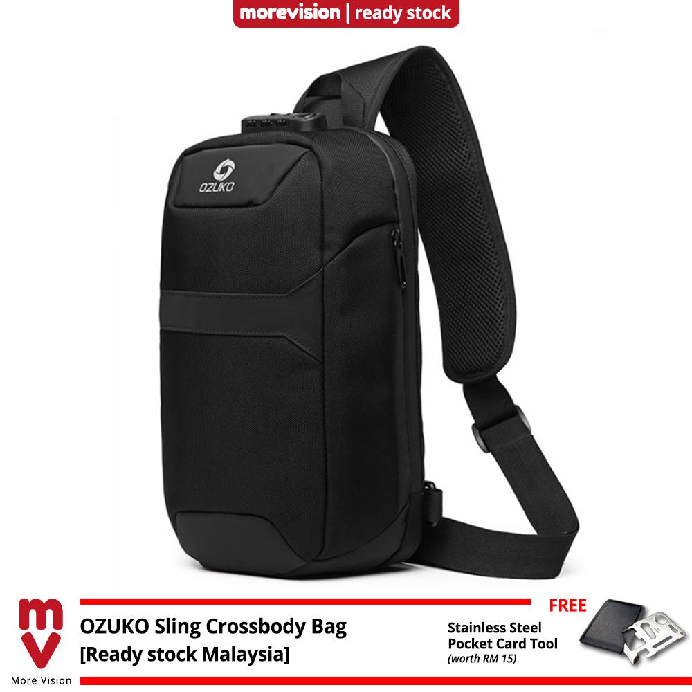 OZUKO Sling Crossbody Bag Comfortable USB Multi-Card Slots New Multifunction Casual Chest Bag Shoulder Beg Waterproof MI6081