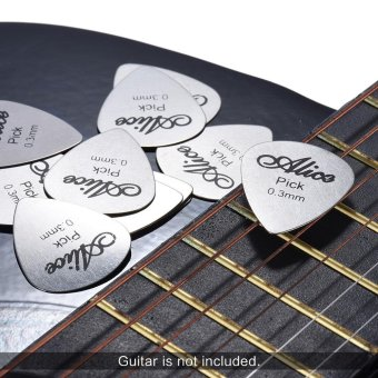 Harga Alice AP-12S 12pcs/pack 0.3mm Stainless Steel Metal Guitar Picks Plectrum Outdoorfree - intl