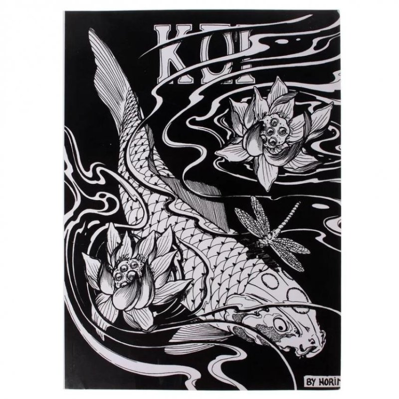 KOI Fish Series Design Manuscript Tattoo Art Needle Sketch Book Supplies 51 Page - intl