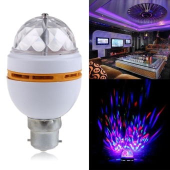 RGB B22 3W Crystal Ball Rotating LED Lamp Stage Light Bulbs for Disco/DJ/Party - intl