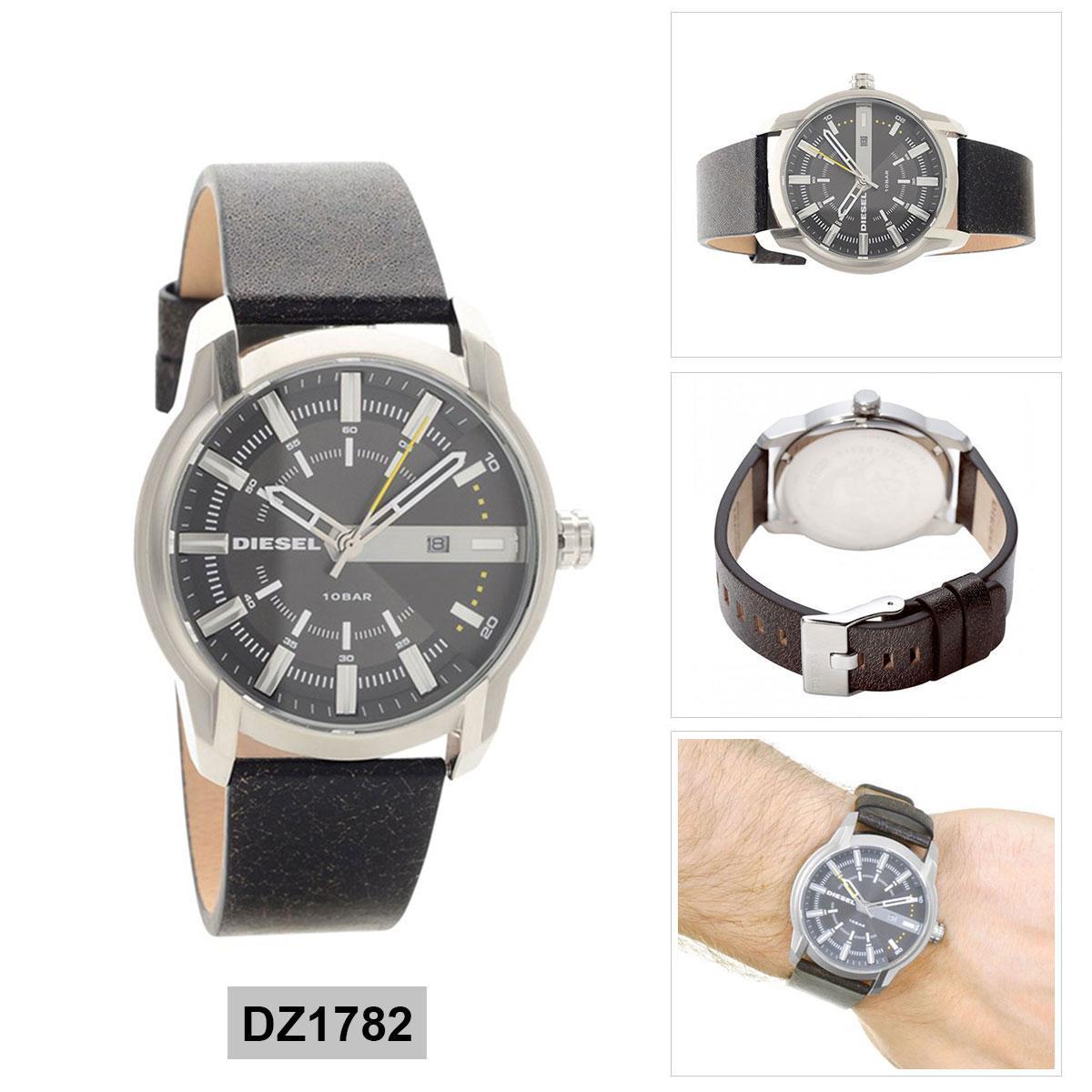 สอนใช้งาน  นครสวรรค์ Authentic Diesel Armbar Brown Stainless-Steel Case Leather Strap Mens DZ1782 2 Years Warranty