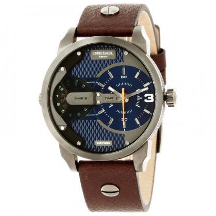 ปัตตานี Diesel_Mini Daddy Men s Blue 46mm Dial Brown Leather Strap Dual Time Quartz Watch DZ7339