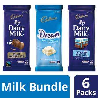 Cadbury Smooth & Chocolatey Milk Chocolate Bundle Consisting 3 uniquely flavored chocolates, Pack of 6, 200g each