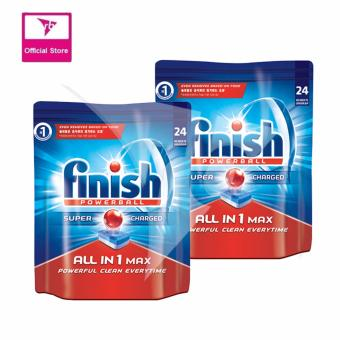 Harga Finish All In One Max Super Charged PowerBall Dishwasher Tablets 24 Tablets (Bundle of 2)
