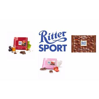 Harga Ritter Sport Chocolates (Bundle of 3 flavors) Ritter Sport Strawberry Yogurt 100g + Ritter Sport Rum Raisins & Nuts 100g + Ritter Sport Whole Hazelnuts 100g