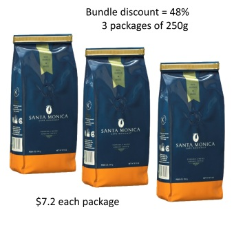 Harga Café Gourmet Santa Monica – Bundle: 3 packages of Ground Coffee 250g