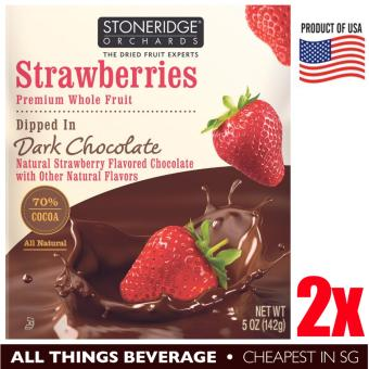 Harga Stoneridge Orchards Strawberries Dipped in Dark Chocolate 2 packs of 5oz 142g (10oz 284g) Cheapest in SG