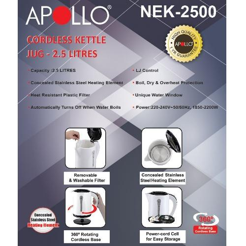 APOLLO NEK-2500 Cordless Electric Kettle 2.5L