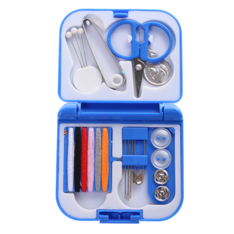 BolehDeals Portable Mini Travel Sewing Kits Box Blue/Red NeedleThreads DIY Home Tools