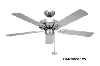 Fanco FFM 2000 52 inch Ceiling Fan with 402-3L Light Kit and Installation (Metalic Silver) - 2