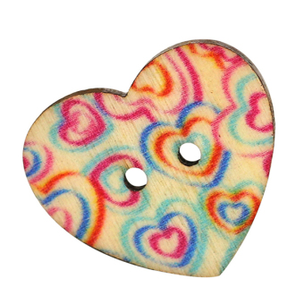 Harga Bluelans 2 Holes Wooden Love Heart Scrapbook Sewing Buttons 50Pcs
