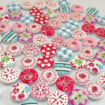 Harga Moonar 100Pcs/ 2 Holes Mixed Printing Round Pattern Wood Buttons Scrapbooking 15mm - intl