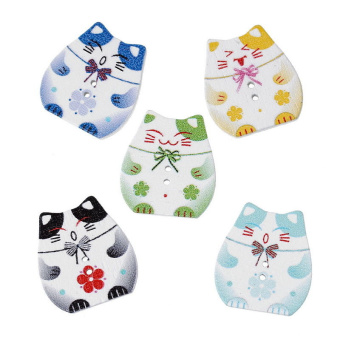 Harga 100x Mixed Color 2 Holes Wood Cute Cat Shape Buttons Fit Sewing Scrapbooking (Intl) (Intl)