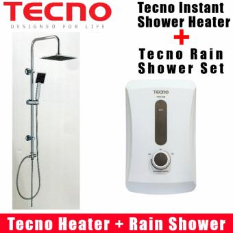 Harga Tecno Instant Shower Heater TWH608 + Tecno Rain Shower Set TRS2260 Package Promotion. Safety Mark Approved
